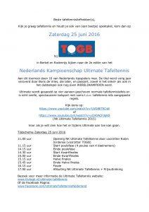 Uitnodiging NK Ultimate Tafeltennis 2016