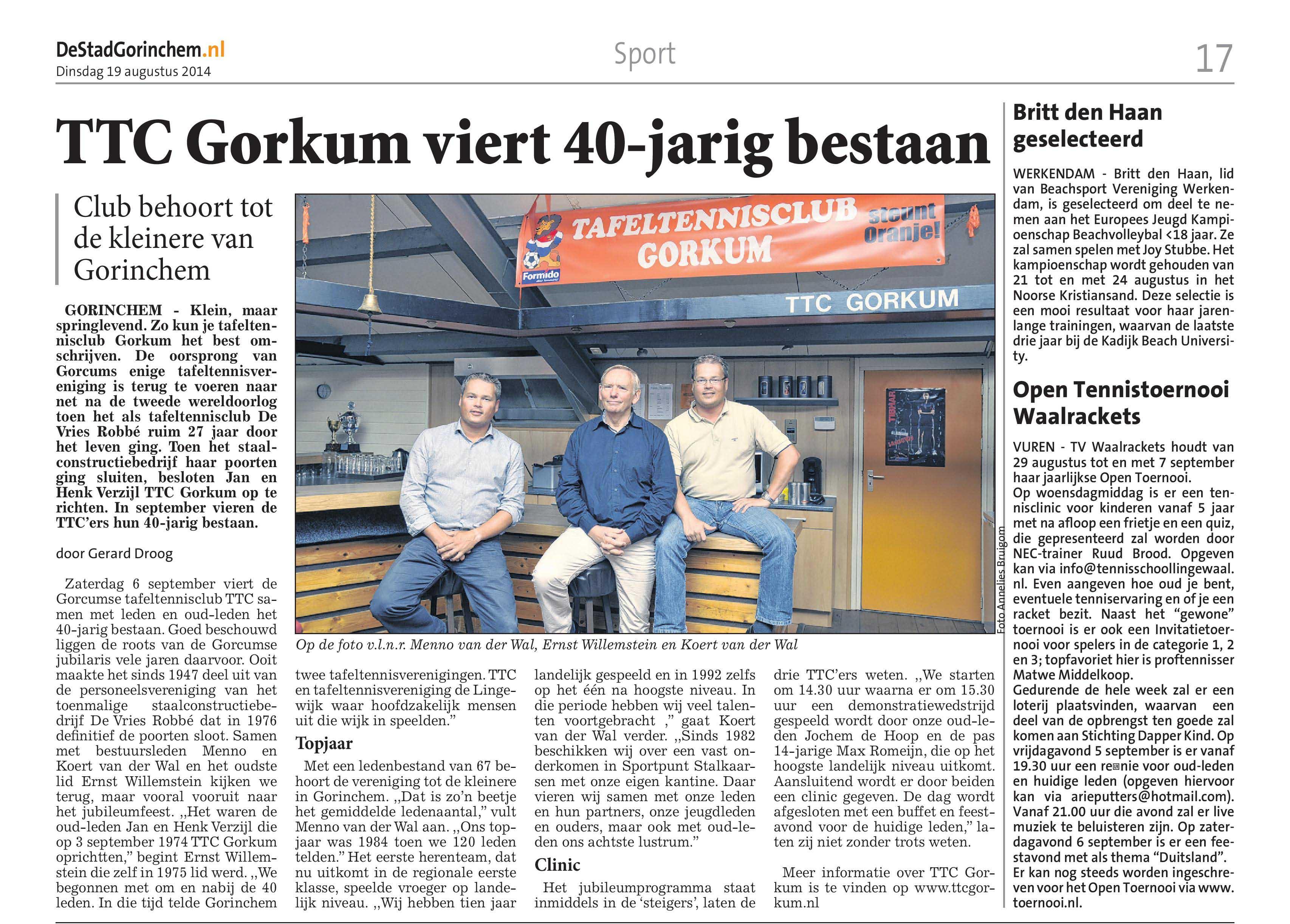 krantenartikel over het jubileum van TTC Gorkum